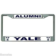 YALE ALUMNI WHITE METAL CAR LICENSE PLATE FRAME MADE IN USA