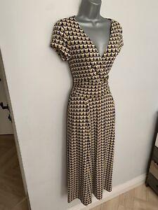 BODEN Geometric Mustard & Navy Print Jersey Cap Sleeve MIDI Dress UK size 8 R