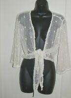 VEJAIZ women's open weave jacket Asymmetric hem tie-@-waist Boho Ivory S - M