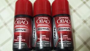3 OBAO GARNIER DEODORANT FOR MEN ACTIVE (PACK OF 3) ANTIPERSPIRANT ROLL ON