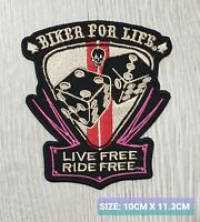 BIKER FOR LIFE LIVE FREE RODE FEE biker Embroidered Iron /Sew On Patch Badge