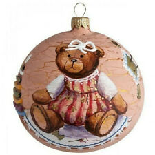 Christmas Ball Glass Ornament with Cute Baby Bear Handmade in Russia 4""