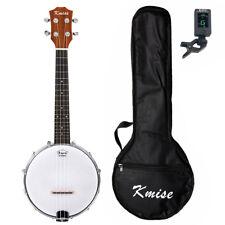 Kmise 4 String Banjolele Banjo Ukulele Uke Concert 23 Inch Sapele with Bag Tuner
