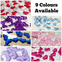 SATIN PADDED FABRIC LOVE HEART TABLE DECORATION WEDDING FAVOURS PERSONALISED