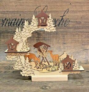 Teelichthalter Reh Kerzenhalter Wald Holz 18cm Schwibbogen Weihnachten Deko NEU