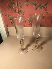 Set of 2 Mikasa IMPERIAL GOLD ~ 6 oz.  Fluted Champagnes 9.25 inch