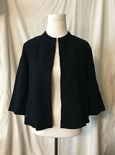 EILEEN FISHER BLUE BLACK 100% COTTON LONG SLEEVE BUTTON UP BLAZER JACKET SZ S