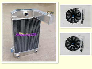 QLD GPI 3 Row Aluminum Radiator TR2/TR3/TR3A/TR3B 62mm MT For TRIUMPH + Two Fans