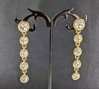 Lovely  Vintage Jewellery Gold-tone Rhinestone Dangles Stud Earrings
