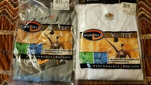 2 Vintage Duofold VariTec Performance L Top Base Layer One White LS/One Green SS