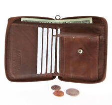 Brown Zipper Secured Bifold Wallet Men's 100% Genuine leather with coin pocket