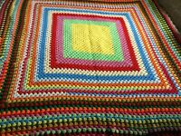 Twin Size Crocheted Square Blanket Throw Afghan 62 x 62 Multicolor Bright Vnt