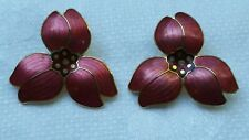 Marked With A Crown On Back Vintage Enamel Flower Earrings Clip Retro Big