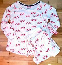 Hanna Andersson Women's Pima Cotton Pajama Set Ecru Deer Dear S Small 4 6