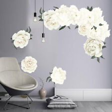 Removable Wall Sticker Mural Background Flowers White Home Living room