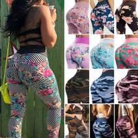 Women High Waist Yoga Pants Printed Scrunched Anti-Cellulite Sports Gym Leggings