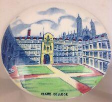 """Antique Ceramic Pot Lid Clare College Cambridge University 6"""" Diameter c1920's"""