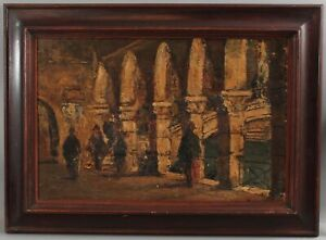 Antique Signed European Impressionist Architectural Archway Oil Painting, NR