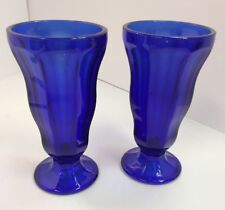 Pair Of Cobalt Blue Malt Sundae Float Glasses PreownedKitchen.com