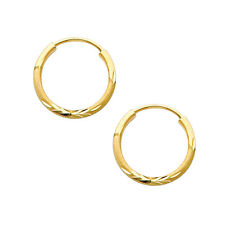 14K Yellow Gold 1.5mm Thick Diamond Cut Satin Endless Very Small Hoop Earrings