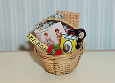 Dollhouse Miniature Sewing Basket Artisan Made 1:12 inch scale A8 Dollys Gallery
