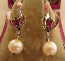 Ruby White Gold Vintage Fine Earrings