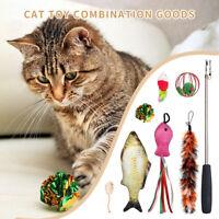 Pet Cat Toys Interactive Toys Cotton Mice Catnip Fish Balls Feather Teaser Wand