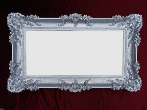 Baroque Wall Mirror Baroque Mirror Antique With Ornamentation Silver 96x57