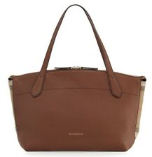 NWT Burberry Welburn Medium Leather And House Check Tote Shoulder Bag , Tan