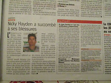 JOURNAL DU DECES DE : NICKY HAYDEN : 23/05/2017