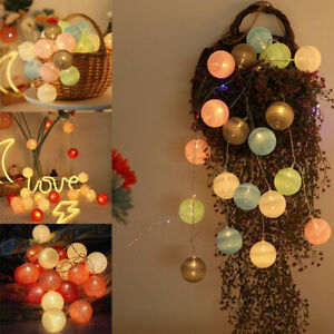 2M 20 LED Solar String Ball Lights Outdoor Waterproof Warm White Garden Decor
