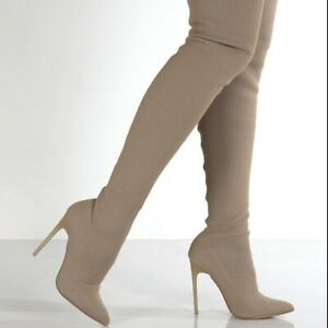 Women Knit Stretch Ankle Boots Stiletto High Heel Pointed Toe Slouchy Shoe Party