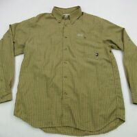 Columbia Mens Button Front Shirt Brown Long Sleeve Pocket Medium Hiking Camping