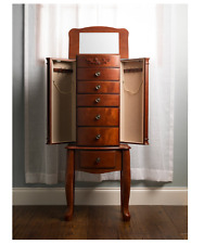 """Tall Jewelry Armoire Antique Cherry Necklace Stand Boxes Box Mirror 41"""" Cabinet"""
