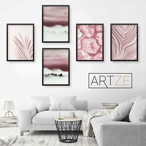 Set of 5 ABSTRACT Blush Pink Forest Fog Marble Agate Gallery Wall Art Prints