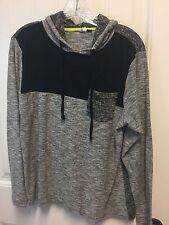 Mens Univibe Hoodie Shirt MEDIUM Black Gray White Long-Slv Cotton A5-321