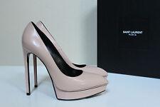 New 8.5 / 38.5 Saint Laurent Janis Blush Leather Classic Platform Pump Shoes YSL