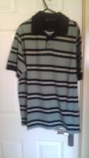 BHS Grey & Navy Striped Polo Shirt - Small 35 -37""