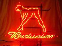 """17""""x14""""Budweiser Hot Girl Neon Sign Light Beer Bar Pub Wall Decor Handcraft Art"""
