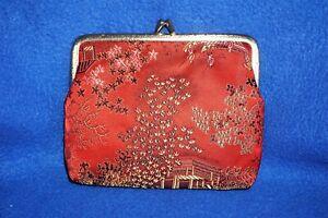 Silk Red Brocade Brushed Metal Frame Clutch Makeup Bag Snap Closure Silk Lining