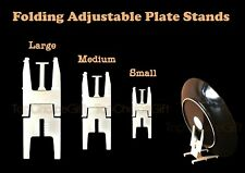 Folding Adjustable Plastic Plate Disk Dish Bowl Stand Holder Mount (3 Colours)