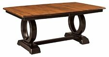 Amish Art Deco Contemporary Trestle Dining Table Rectangle Leaves Solid Wood