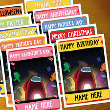 AMONG US Personalised Card ANY OCCASION - xmas, romantic, personalized gamer