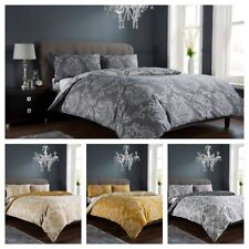 Damask Gold  / Charcoal Duvet Quilt Cover Bedding Set Single Double King &S/King