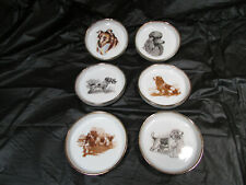 Vtg Rare Inarco 6 Coasters w/Holder Hunting Dogs Collie Japan E-1507 Gold Trim