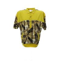 VIntage Kurzarmhemd Herren Größe M Gelb Freizeit Shirt Gummizug Retro Muster