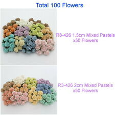 Custom Order 100 Mixed Sizes Pastel Mulberry Paper Flowers 1.5cm & 2cm R83-426