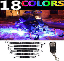 12PC PREMIER SKIDOO POLARIS LED NEON GLOW SNOWMOBILE LIGHT KIT w KEYCHAIN REMOTE