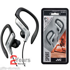 SILVER JVC HA-EB75AS SPORTS ADJUSTABLE EAR CLIP EARPHONES HEADPHONES MP3 IPOD
