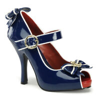 Funtasma ANCHOR-22 Shoes Blue-White Patent Mary Jane Sailor Open Toe High Heels